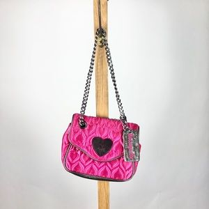 Betsey Johnson Chain Strap Hot Pink Bag